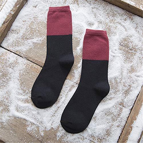 Transpirabilidad cálida y cómoda para Mujeres. Retro Lana de Invierno basado-Sen Colores Mezclados Calcetines 5 Pares de Medios de Mezclado (Color : A)