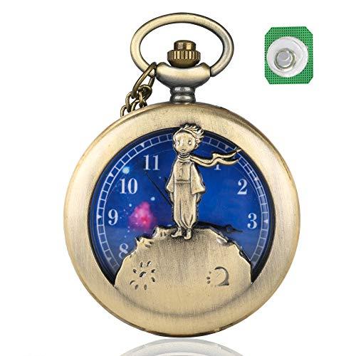 Reloj de Bolsillo de Cuarzo con diseño de Principito para Hombre, dial Azul Planeta, Reloj de Bolsillo para Regalo
