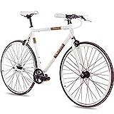 CHRISSON 28 Zoll Vintage Fixie Singlespeed Retro Fahrrad FG Flat 1.0 Weiss 56 cm - Urban Old School...