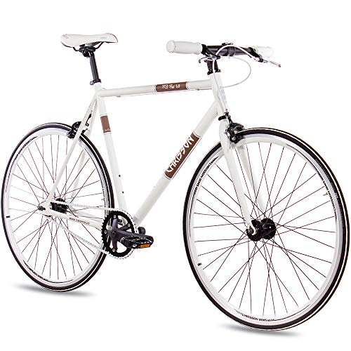 CHRISSON 28 Zoll Vintage Fixie Singlespeed Retro Fahrrad FG Flat 1.0 Weiss 56 cm - Urban Old School Fixed Gear Bike für Damen und Herren