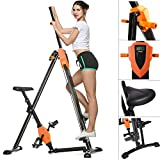 ANCHEER Folded 2-in-1 Body Vertical Climber Exercise Bike, Cardio Workout Exercise Gym Fitness Machine for Home, Adjustable Height (Orange)