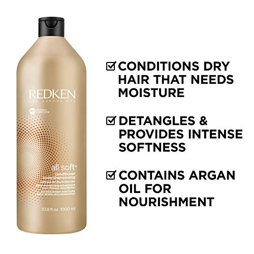 Redken All Soft Argan Oil Conditioner | For Dry/Brittle Hair | Moisturizes & Provides Intense Softness | 33.8 Fl Oz
