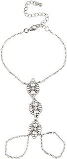 Lux Accessories Floral Handchain Bracelet Hand Chain Slave Double Ring.