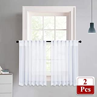 NICETOWN Linen Like Sheer Curtains - White Half Window Tiers Linen Like Texture Semitransparent Sheer Tiers Valance for Kitchen/Cafe, 55 inches Wide x 36 inches Long, Sold by 2 Pieces