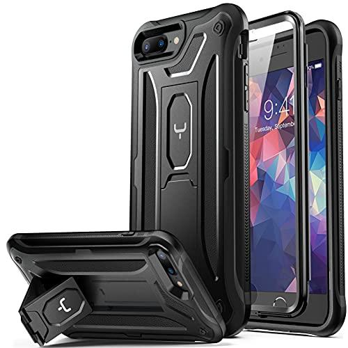 YOUMAKER Schutzhülle für iPhone 8 Plus, iPhone 7 Plus, integrierter Bildschirmschutz, Standfuß, strapazierfähig, stoßfest, für iPhone 8 Plus & iPhone 7 Plus,5.5 Zoll – schwarz
