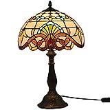Fabakira Vintage Tournesol Vitrail Pastoral avec des Fleurs Lampe de Table en Verre Tiffany Style 46 * 30CM