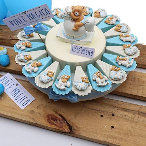 Torte Bomboniere Nascita Orsetto con Carrozzina e Pony Bimbo Magnete 20 fettine