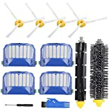 Replacement Parts Accessory for iRobot Roomba 600 500 Series 692 695 690 680 660 650 630 620 614 610 595 585 564 552 Vacuum Cleaner Replenishment Kit, 4 Filter 4 Side Brush 1 Bristle & 1 Beater Brush