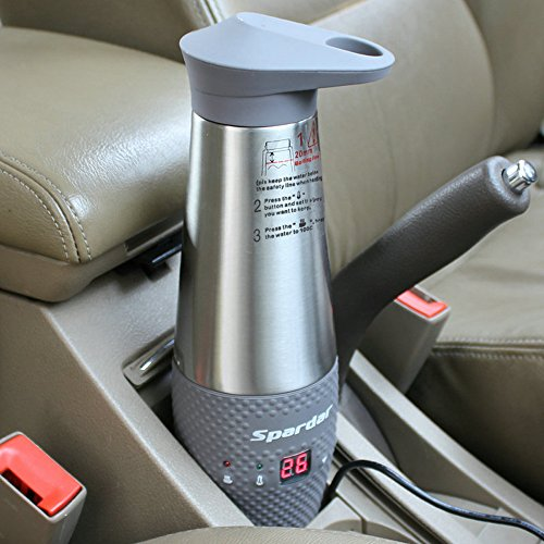 Spardar Water Heating Cup for Car Double Wall Vacuum Insulated Stainless Steel Automatic Working Car Cigarette Lighter DC12V Electric Kettle Boil Water (Gray)