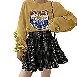 Women's High Waisted A-line Gothic Skirt Short Flare Mini Black Plaid Skirt, X-Large