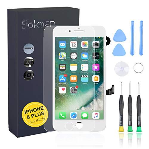bokman voor iPhone 8 Plus Wit Scherm LCD Touchscreen Volledige Montage met Camera aan de Voorkant, Luistergedeelte Spreker en Afschermplaat
