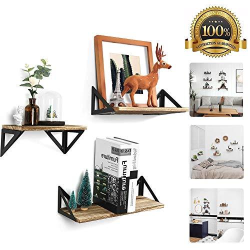 M-TOP eiken drijvende planken, zwevende muur gemonteerde rekken, rustieke boerderij 3 Tier hout muur plank, opslag planken voor fotolijsten, verzamelaars, decoratieve artikelen, Trophy Display