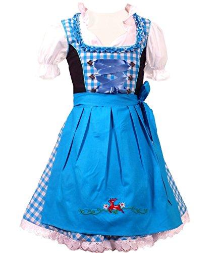 Authentic Deutscher Bayerische 3 Stück Kinder Dirndl Kleid für Oktoberfest, Bluse, Schürze,Türkis Weis Kariert,104