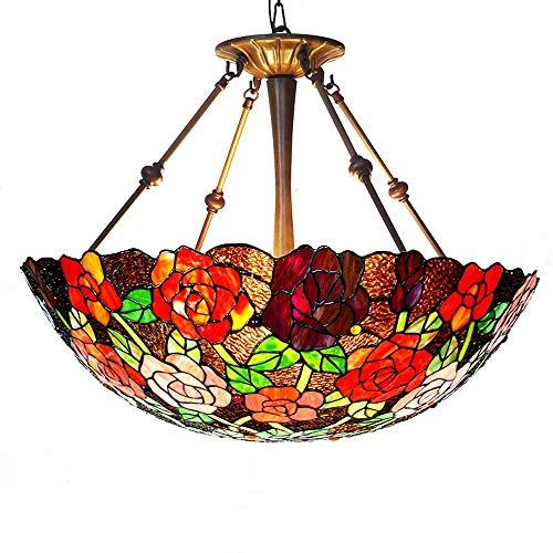 Luyshts Lámpara de techo semicircular de estilo vintage estilo Tiffany para sala de estar, dormitorio, restaurante, cafetería, bar, 56 x 61 cm