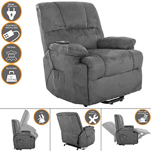 MACOShopde by MACO Möbel TV-Sessel FRANK mit elektrischer Aufstehhilfe, Schlafsessel mit Liege- und Relaxfunktion aus Velours Mikrofaser in Grau mit 2 kraftvollen Motoren und Fernbedienung