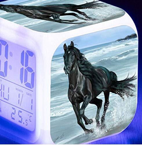 shiyueNB Reloj Despertador Digital LED Luminoso de 7 Colores Caballo Corriendo Reloj Despertador para niños Regalo de cumpleaños Reloj Despertador Vintage Multifuncional Verde