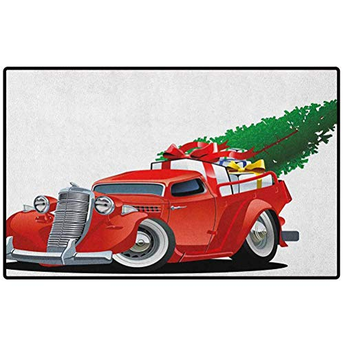 Christmas Outdoor Rug 24x16 Vintage American Truck with Large Xmas Tree and Gift Boxes Pickup Retro Vehicle Floor Mat Rug Indoor/Bathroom Mats Rubber Non Slip