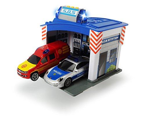 Dickie Toys 203713003 - Rescue Station, Rettungswache mit Polizei- und Feuerwehrauto inklusive Batterien, 15 cm