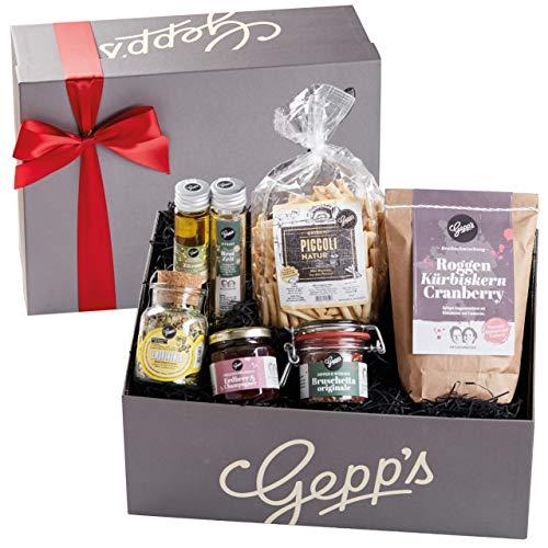 Gepp's Feinkost Geschenkbox Verwöhnpaket | Geschenkkorb gefüllt mit köstlichen Delikatessen, hergestellt nach eigener Rezeptur | Köstliches Gourmet-Geschenk für Frauen | Geschenk zum Geburtstag