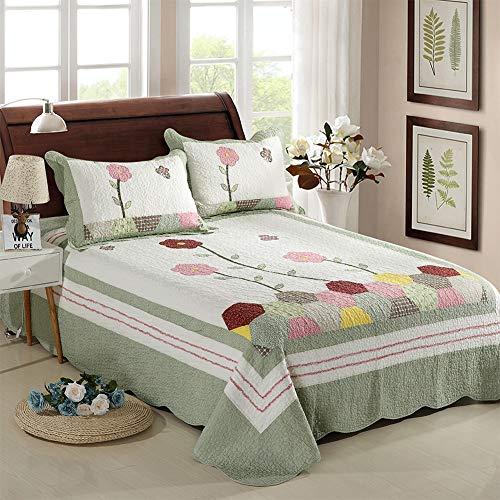 JianJu King Size Gesteppte Tagesdecke Steppdecke, Kissenbezug Sommer Steppdecken waschbare Bettdecke leichte weiche Steppdecke 230X250CM mit 2 Kissenbezug 3-teiliges Set (50X70CM),Grün