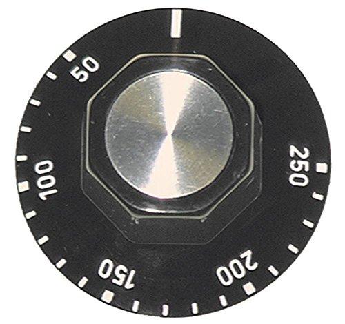 Knebel für Thermostat ø 50mm Symbol 50-250°C für Achse ø 6x4,6mm mit Abflachung oben schwarz Drehwinkel 250°