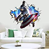 H/A 3D Three-Dimensional Wall Stickers Avengers Captain America Childrens Room Decorative Wall Stickers