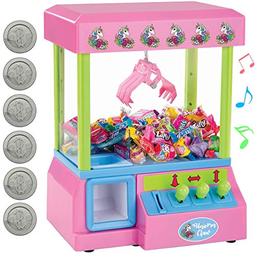 Bundaloo Claw Arcade Game Candy Dispenser for Kids Jelly Bean Gumball amp Marshmallow Grabber | Mini Toy Vending Machine with Sounds Birthday amp Christmas Gifts for Boys amp Girls Pink Unicorn