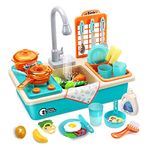 CUTE STONE Play Kitchen Sink Toys with Upgraded Real Faucet,...