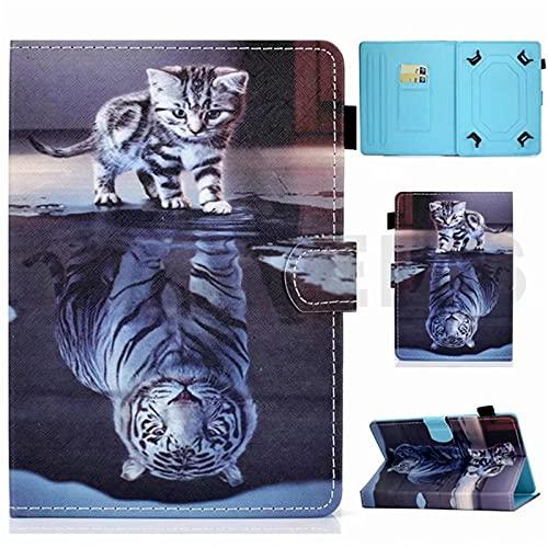 Funda universal para tablet de 10 pulgadas, con soporte universal para Tab de 10', gato gatito, tigre, color blanco