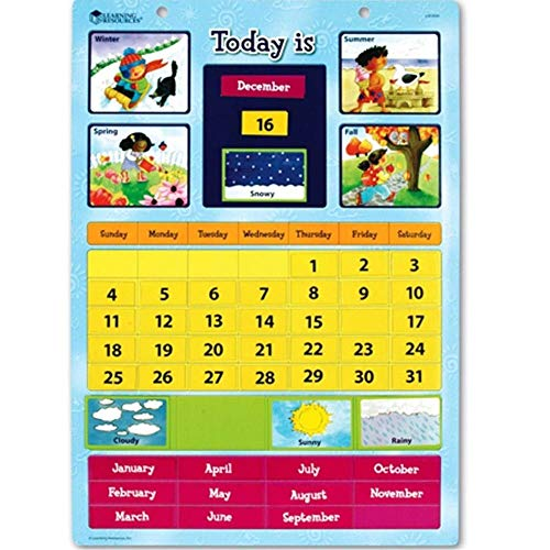 "Learning Resources Magnetic Learning Calendar, 51 Magnetic Pieces & Calendar, Measures 12"" x 16-1/2"", Ages 4+"