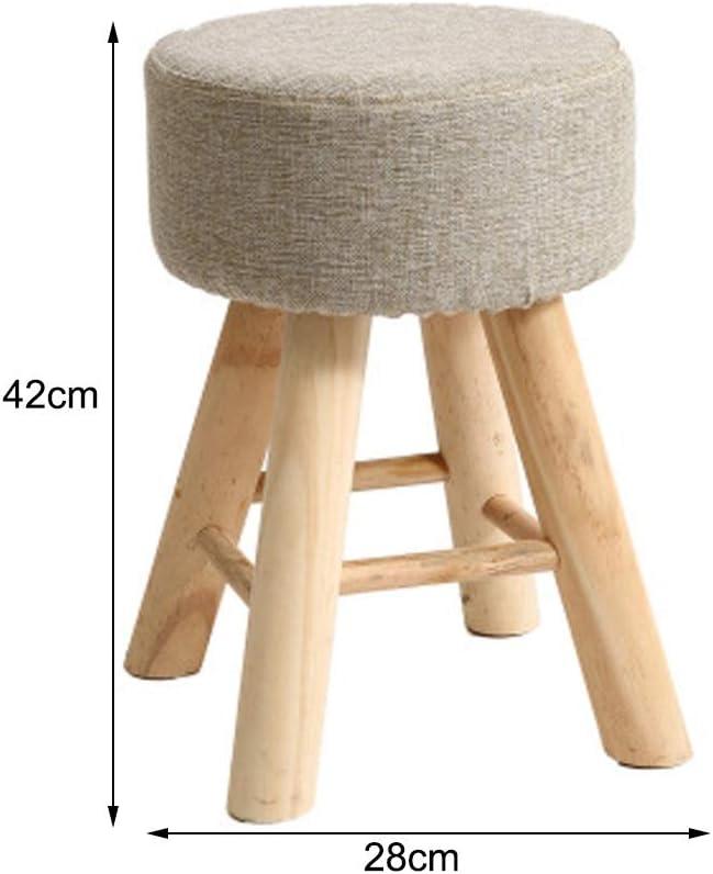 Changement de banc à chaussures Repose-pieds Tabourets bas Poufs Ronds Chaise Assise Coussin for Salon Chambre Vintage Siège 4 Pied En Bois (Color : D) B