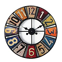 JX-PEP Retro Metal Wall Clock,24 Vintage License Plates Round Wall Clock,Silent Large Decorative Clock for Home Office