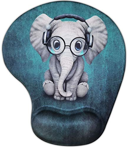Dooke Ergonomic Mouse Pad with Wrist Support, Cute Mouse Pads with Non-Slip Rubber Base for Home Office Working Studying Easy Typing & Pain Relief Adorable Elephant
