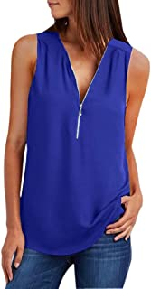 QIYUN.Z Women Casual Solid Color Sleeveless Chiffon Zip Up V Neck Tank Top Blouse(Sapphire Blue S)