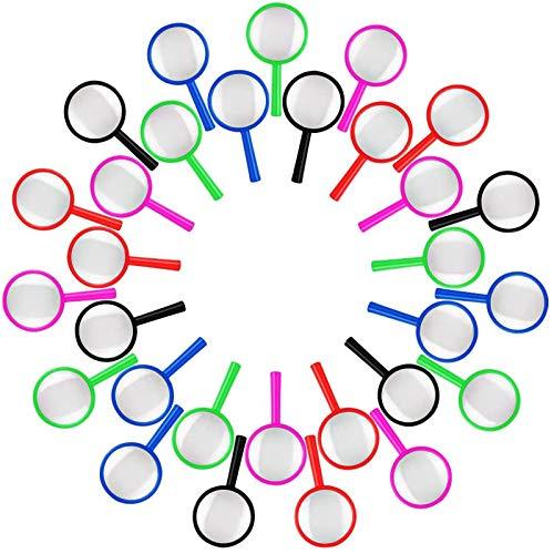 Heqishun 30 Pcs Lupa de Juguete Infantil, Coloridas Lupas de Plastico de Mano Adecuada para Que los Niños Exploren Las Ciencias Naturales y Artículos de Fiesta