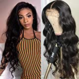 Blomas Lace Frontal Wigs Human Hair 13×4 Lace Front Body Wave Human Hair Wigs For Black Women Lace Frontal Wigs 150% Density Pre Plucked with Baby Hair Natural Black 22 Inch