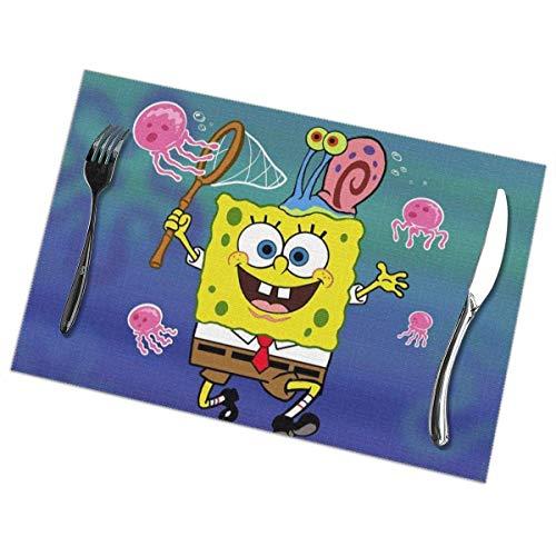 Art creative design Tischsets Spongebob fängt Octopus Tischsets Waschbare Tischsets 6er-Set für den Esstisch