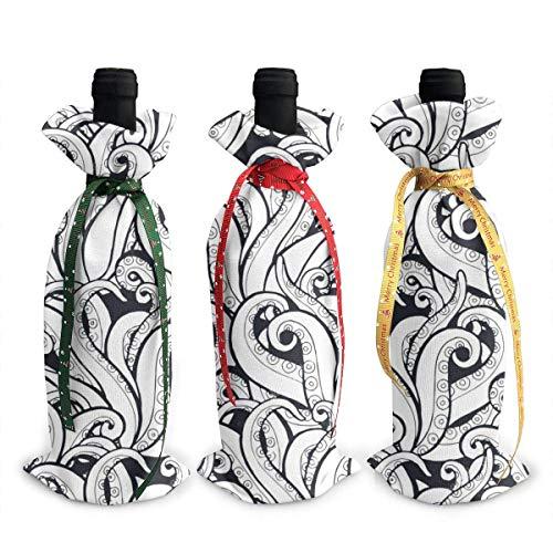 Galaxy Octopus Tentakel 3 Stück Weihnachten Weinflaschenabdeckung Dekoration Taschen für Weihnachten Neujahr Party Dekoration