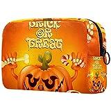 Bolsa Maquillaje Almacenamiento organización Artículos tocador cosméticos Estuche portátil Divertida Calabaza Naranja de Halloween para Viajes Aire Libre