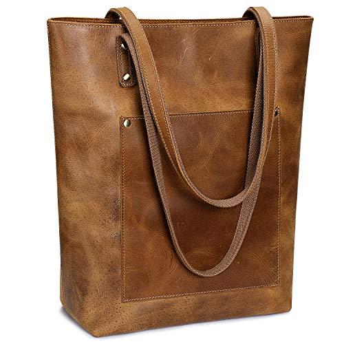 S-ZONE Women Vintage Genuine Leather Tote Bag Large Shoulder Purse Work Handbag