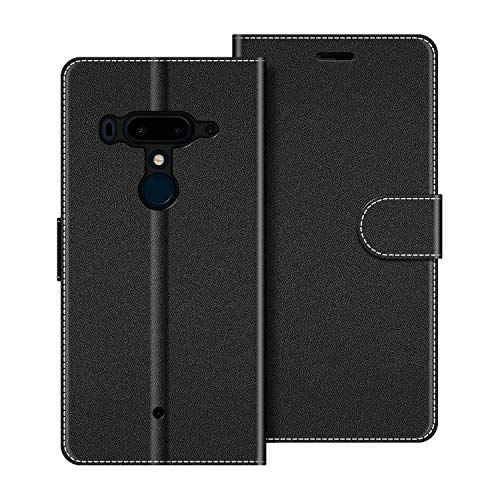 COODIO Funda HTC U12 Plus con Tapa, Funda Movil HTC U12 Plus, Funda Libro HTC U12 Plus Carcasa Magnético Funda para HTC U12 Plus, Negro