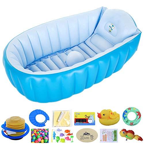 TRER Baby opblaasbare badkuip draagbare infant voor kleine kinderen, antislip, badkuip, reisbad mini Air zwembad kinderen dikke opvouwbare douchebak blauw roze ovaal/vierkant 4 blauw.