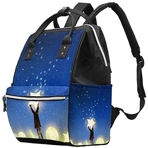 Maman Sac à Langer Sac à Dos Galaxy Star Moon Multifonction Imperméable à l'eau Sac à Dos de Voyage pour Soins de Bébé