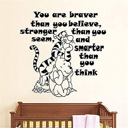 stickers muraux autocollant L'ourson mignon Winnie & Tigrou Baby Nursery Quote