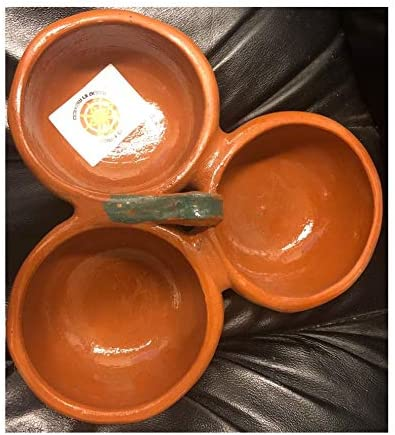 2021 no!no! outlet sale Mexican Salsero Salsera de Barro 3-Section Bowls Salsa Chips Guacamole Nuts Condiment Server Traditional Clay Party Dish Made in popular Mexico outlet sale