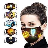 XCVBX 5 Stück Erwachsene Mundschutz Gesichtsschutz Halloween Waschbar Mode Gedruckt Einstellbar Wiederverwendbare Atmungsaktiv Unisex