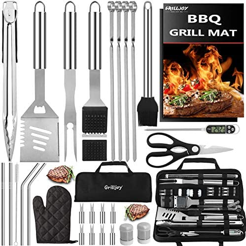 grilljoy 31PC Heavy Duty BBQ Grilling Accessories Grill Tools Set Stainless Steel Grilling Kit product image