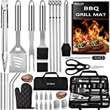 10. grilljoy 31PC Heavy Duty BBQ Grilling Accessories Grill Tools Set - Stainless Steel Grilling Kit with Storage Bag for Camping, Tailgating - Perfect Barbecue Utensil Gift for Men Women