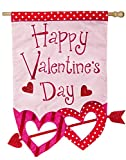 Evergreen Flag Valentine's Day Glitter Arrow Applique House Flag, 28 x 44 inches