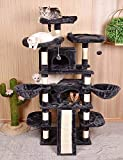 Amolife Heavy Duty 68 Inch Multi-Level Cat Tree, King/X-Large Size Cat Tower,Cat condo with Scratching Posts Kitty Pet Play House, Suitable for Large Cat/Big Cat, Smoke Grey